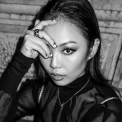 jess wong black and white headshot writer make up eye woman