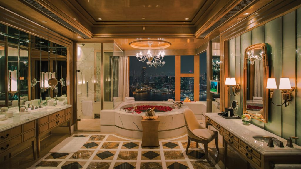 Four Seasons Hong Kong - staycation hotel bathroom with the view