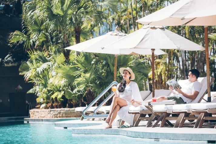 Grand Hyatt Hong Kong woman pool holiday staycation