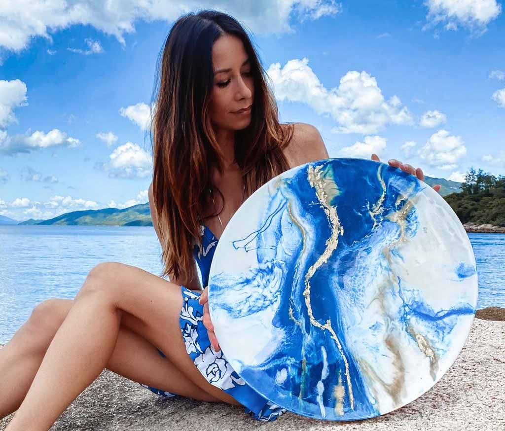 Magdalena Klim large round resin abstract blue and gold piece