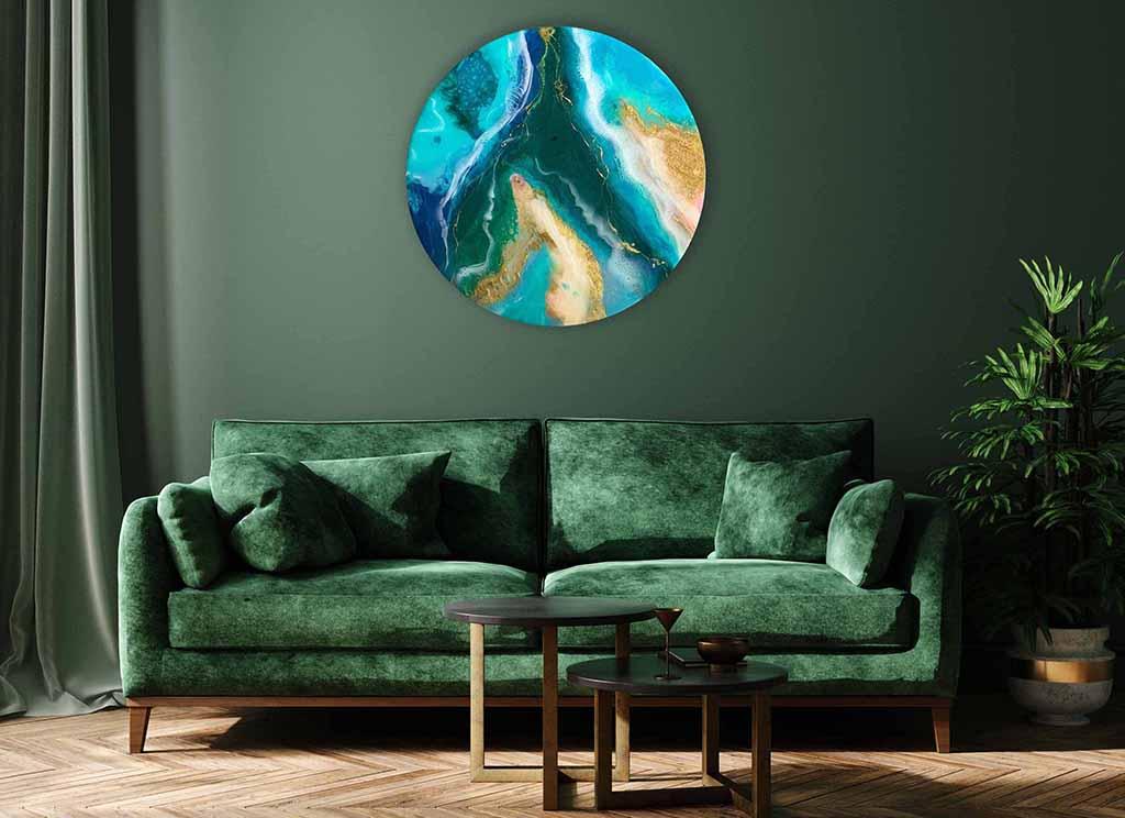emerald ocean artwork-green sofa wall