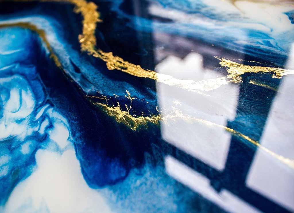 blue round resin artwork details