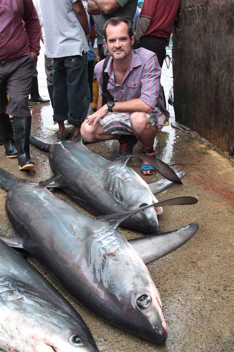 Andy photographing thresher sharks Ecuador 2014