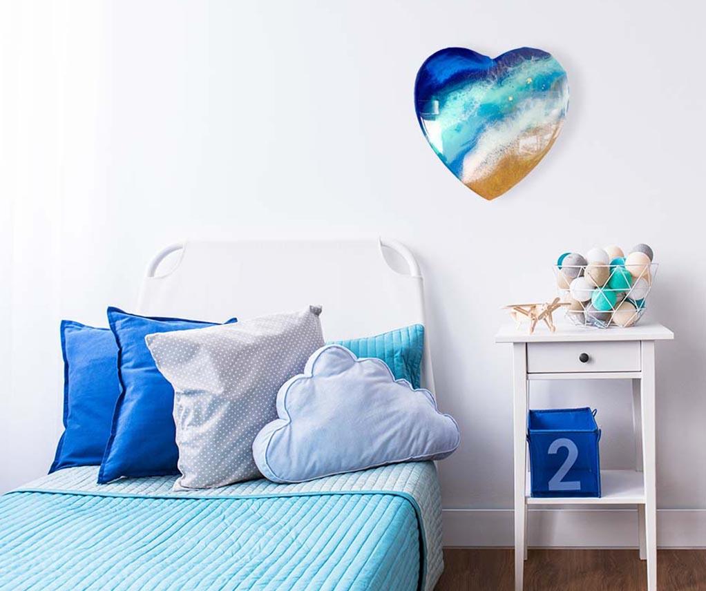 blue resin heart shaped artwork