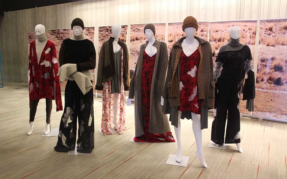 Grace Lant's alpaca wool collection on display at Peru Moda