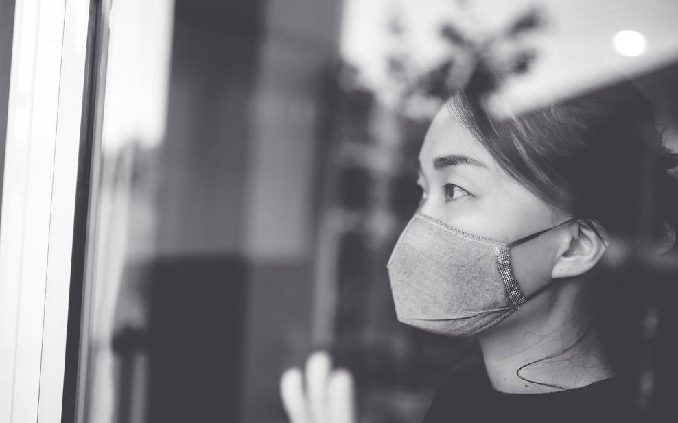 Asian woman wearing mask